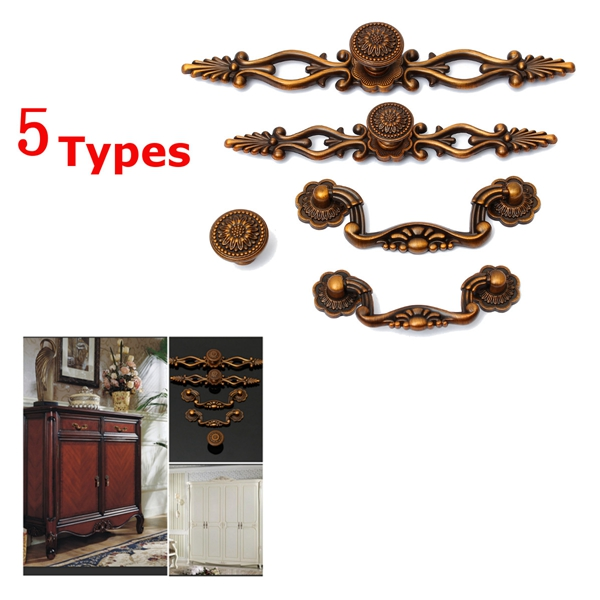 Cupboard Cabinet Drawer Door Pull Handles Knobs Ornate Furniture Antique Drop