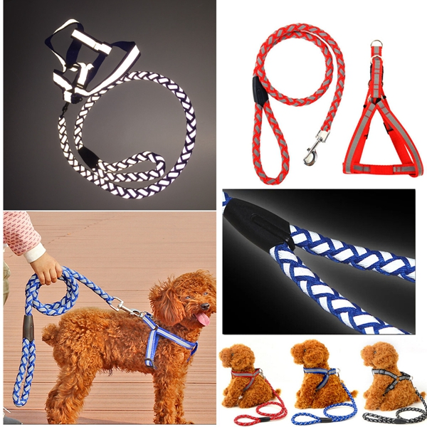 Reflective Nylon Noctilucent Dog Harnesses Leash Adjustable Pet Walking Rope Dog Traction Rope
