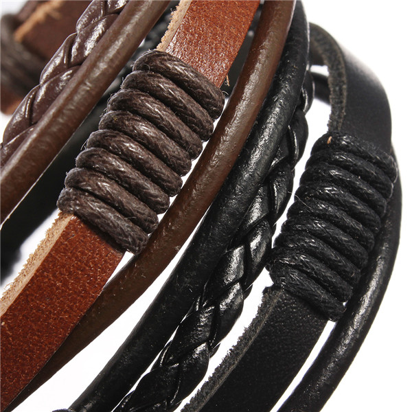 Men Multilayer Tribal Woven Surf Leather Bracelet Wristband