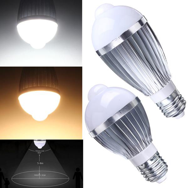 e27 7w auto pir infrared motion sensor detection led bulb lamp 85-265v