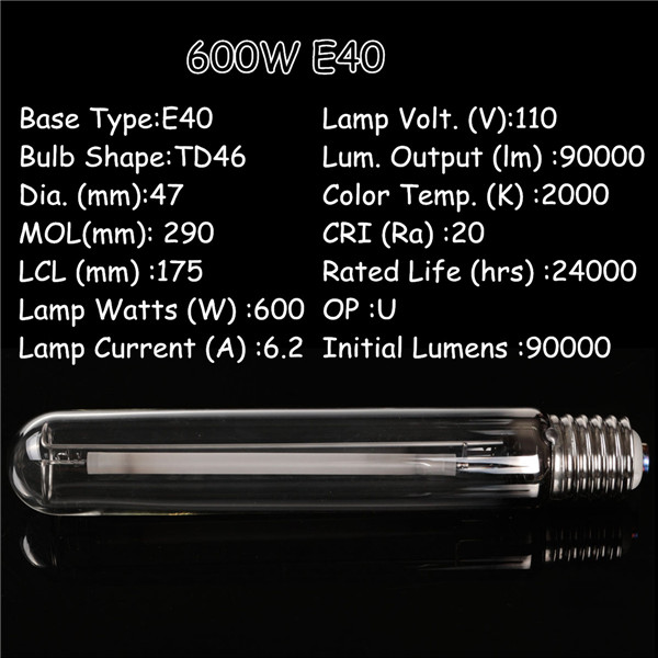 E40 600W HPS Lamp High Pressure Sodium Flower Bulb Plant Grow Light for Ballast