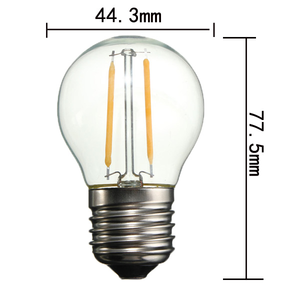 G45 E27 2W White/Warm White Non-Dimmable COB LED Filament Retro Edison Bulbs 220V