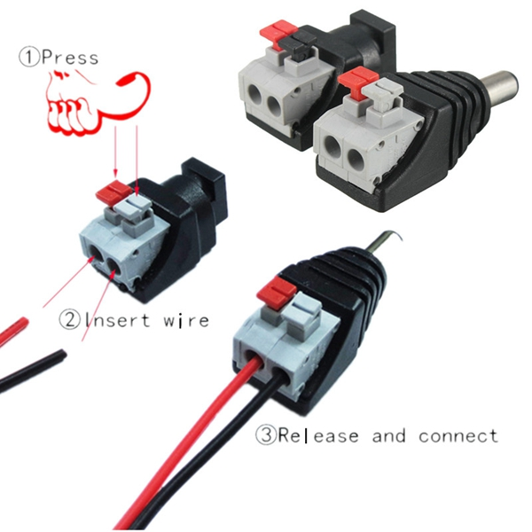 LUSTREON DC Power Male Female 5.5*2.1mm Connector Adapter Plug Cable Pressed for LED Strips 12V