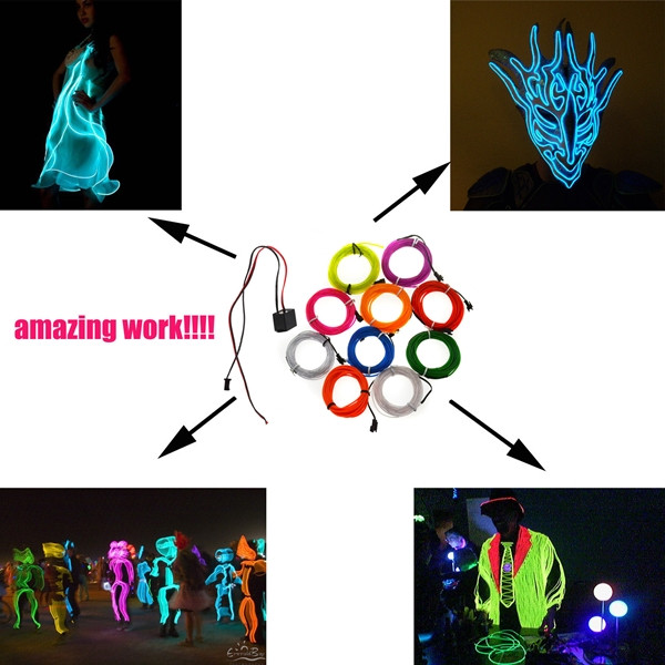 3M Flexible Neon EL Wire 10 colors 12V Light Dance Party Decor Light