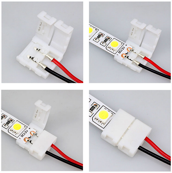 LUSTREON 2-Pins Power Connector Adaptor For 3528/5050 Led Strip Wire With PCB