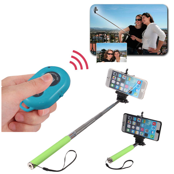 bluetooth Remote Shutter Selfie Extendable Monopod Stick For iPhone
