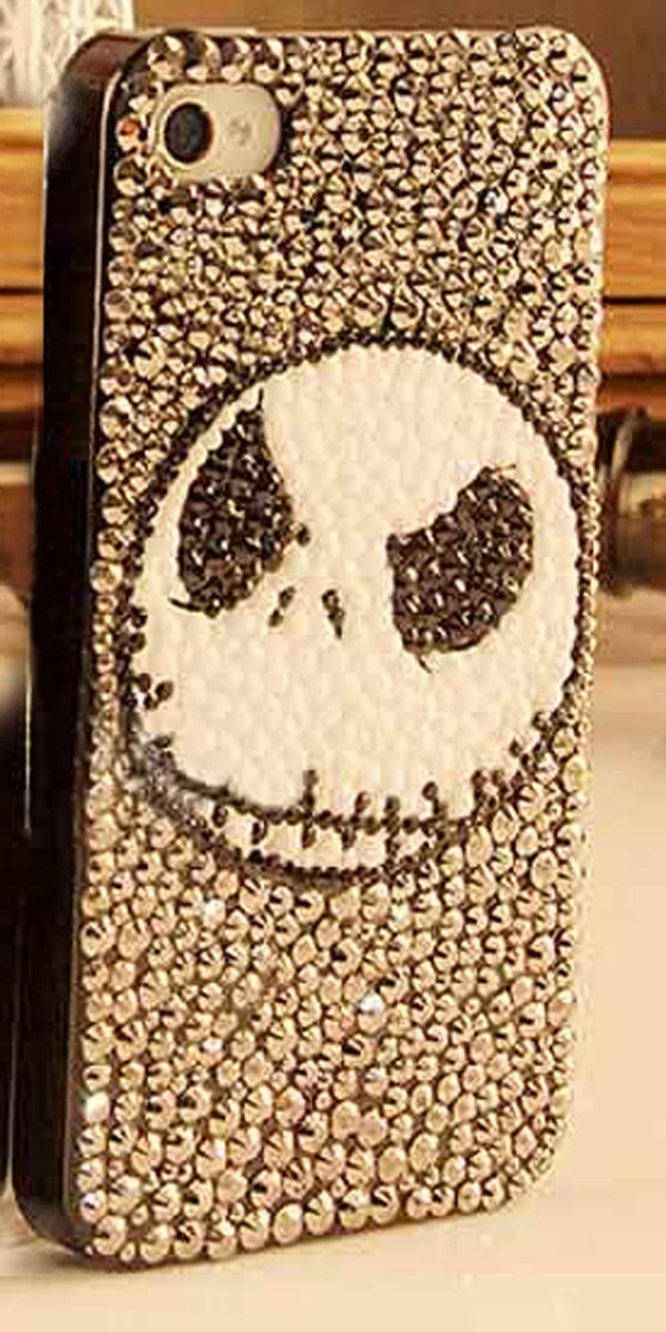 DIY Stuck Drill Skull Pattern Phone Case Stuff Bags For iPhone 4 5