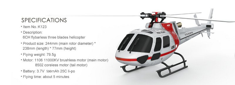 XK K123 6CH Brushless AS350 Scale RC Helicopter RTF Mode 2