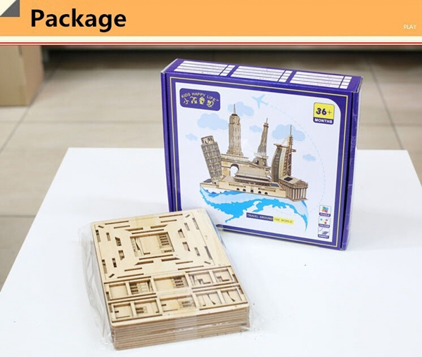 DIY 3D Solar Puzzle Wooden Toys Assemble Toys Bank of China Tower