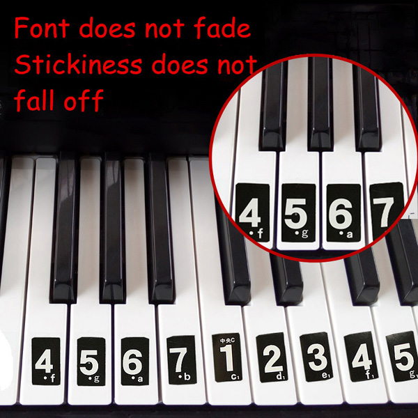 Piano keyboard music note sticker lesson key decal learn teach play 52 labels