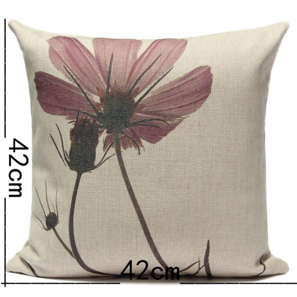 Pink Flower Printed Pillow Cover Cotton Linen Pillowcase