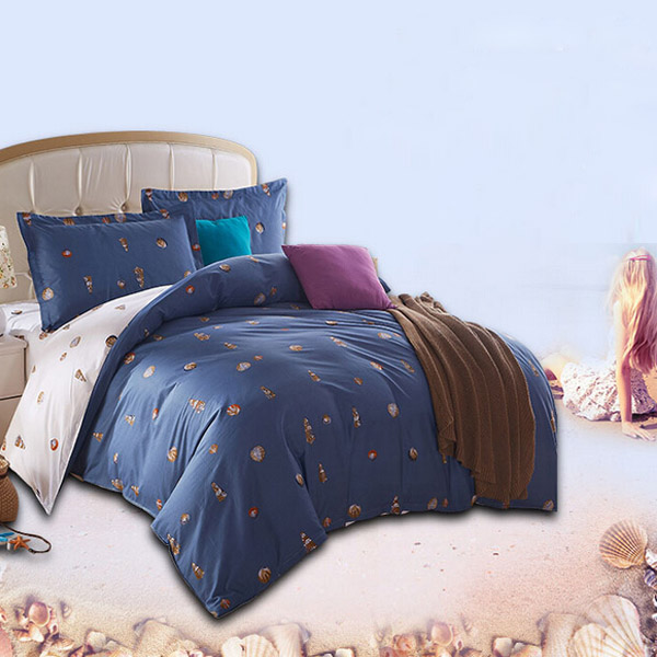 4pcs Suit Cotton Conch Predestined Love Printed Thicken Bedding Sets