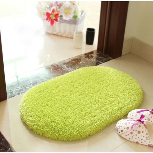 40x60cm Lint Plush Non Slip Absorbent Bathroom Floor Mat Oval Kitchen Carpet Rug
