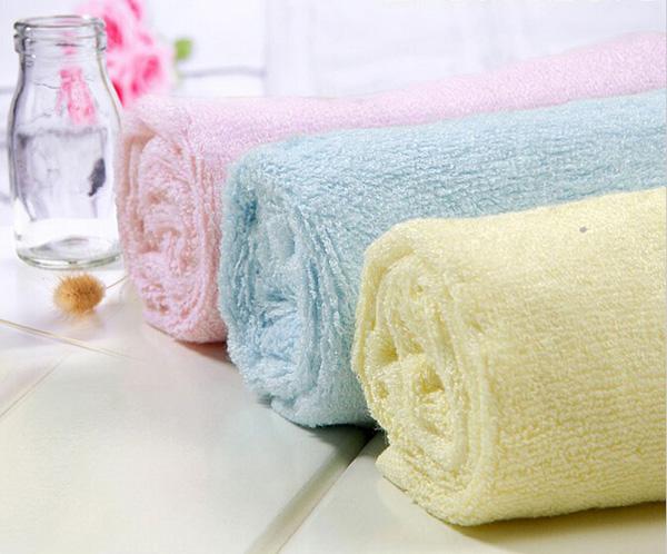 25*25cm Bamboo Fiber Antibacterial Handkerchief Absorbent Soft Baby Face Towel