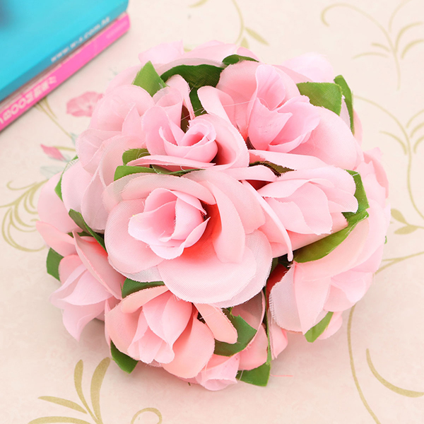 Artificial Wedding Silk Rose Flower Ball With Leaves Party Home Decoration