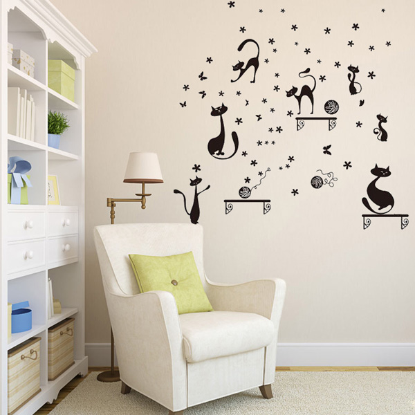 Cat Cartoon Wall Sticker Kids Room Wallpaper Art Decal Home Indoor Decoration