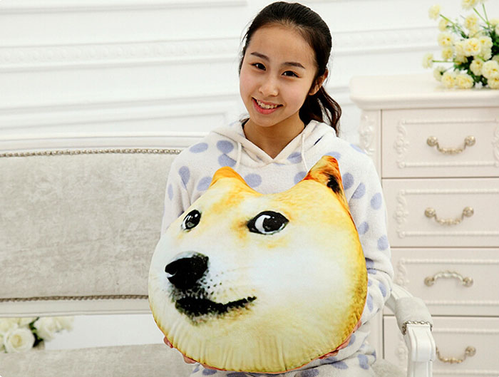 Plush 3D Printed Samoyed Husky Doge Dog Throw Pillow Alaska Dog Cushion