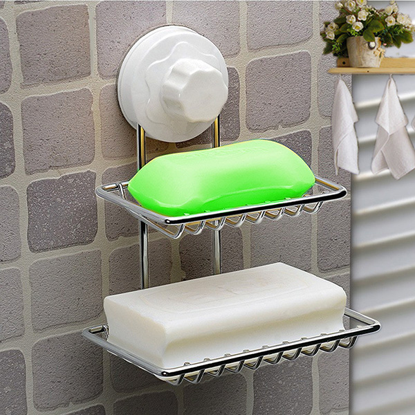 Double Deck Soap Dish Holder Bathroom Shower Tray With Suction Cup