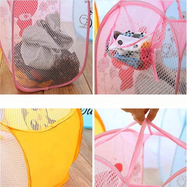 Cartoon Portable Laundry Storage Basket Foldable Clothes Mesh Bag