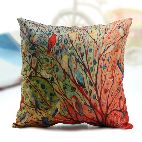 Cotton Linen Oil Painting Birds Flower Throw Pillow Cases Home Sofa Cushion Cover