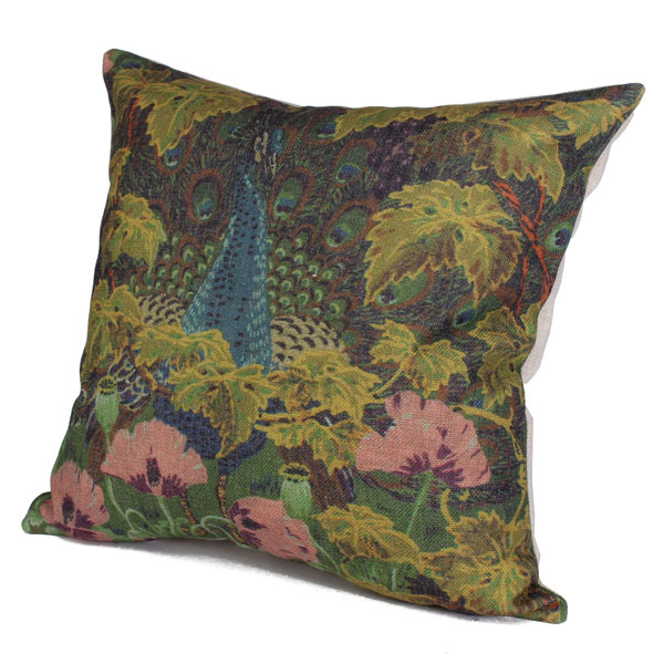 Cotton Linen Creative Green Forest Flower Peacock Pillow Case Sofa Cushion Cover