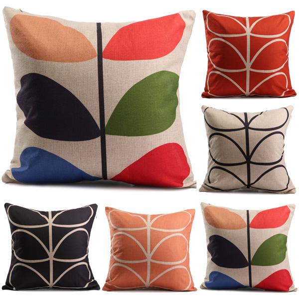 Retro Vintage Printed Cotton Linen Pillow Case Happiness Cushion Cover Sofa Cars Decor