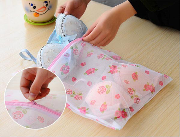 Laundry Washing Bag Socks Underwear Bra Clothes Net Mesh Bag With Zip Fastener