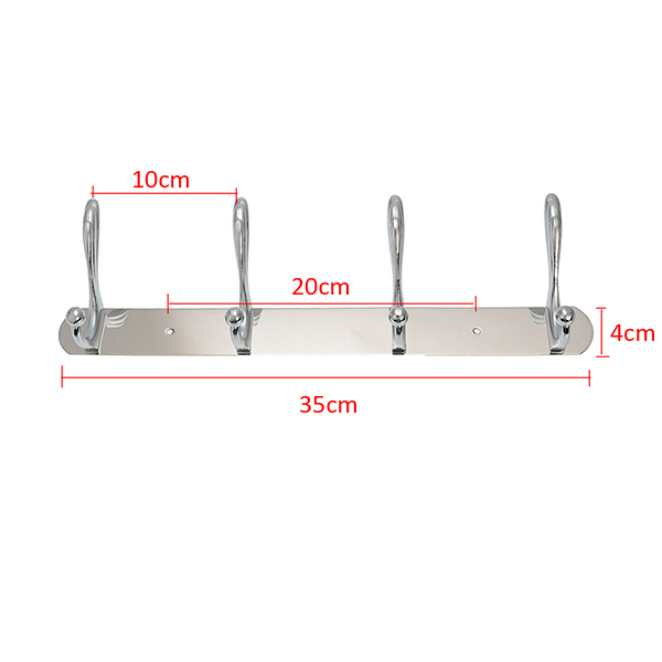 4 Hooks Stainless Steel Wall Mounted Towel Rack Clothes Hanger Coat Hat Holder