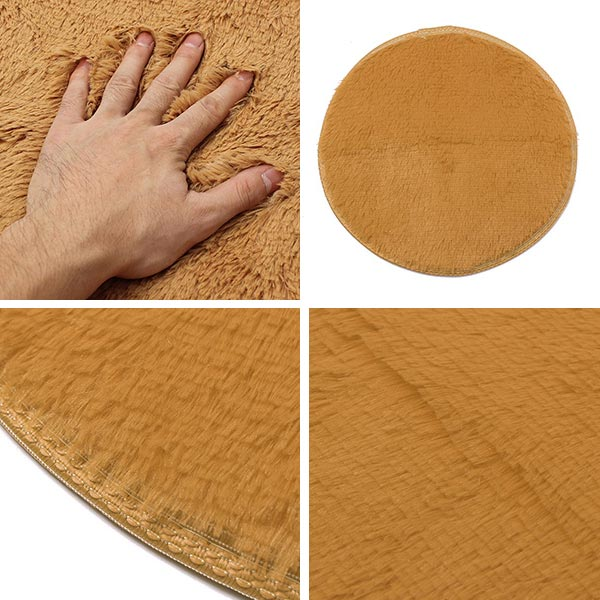 40cm Pure Colour Soft Round Shaggy Mat Home Floor Plush Carpet Bath Rug