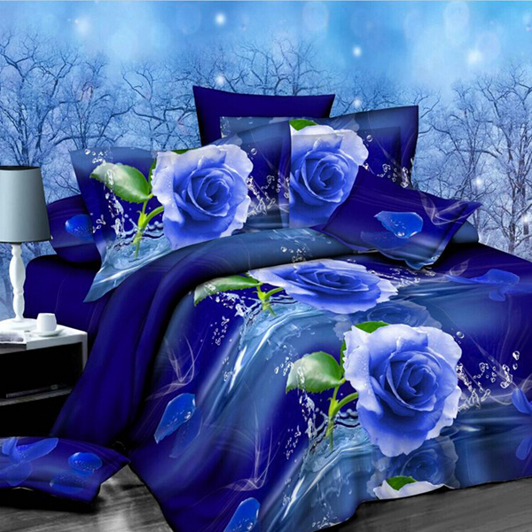 4pcs Suit Polyester Fiber 3d Blue Rose Flower Reactive