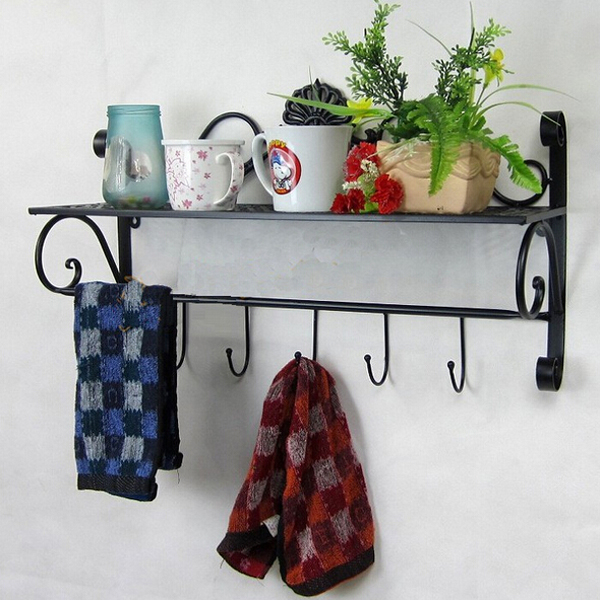 Iron Craft Wall Hanging Towel Rack Bathroom Storage Shelf