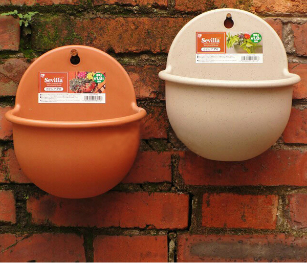 Resin Plastic Hanging Flower Pot Wall-mounted Round Flower Pot