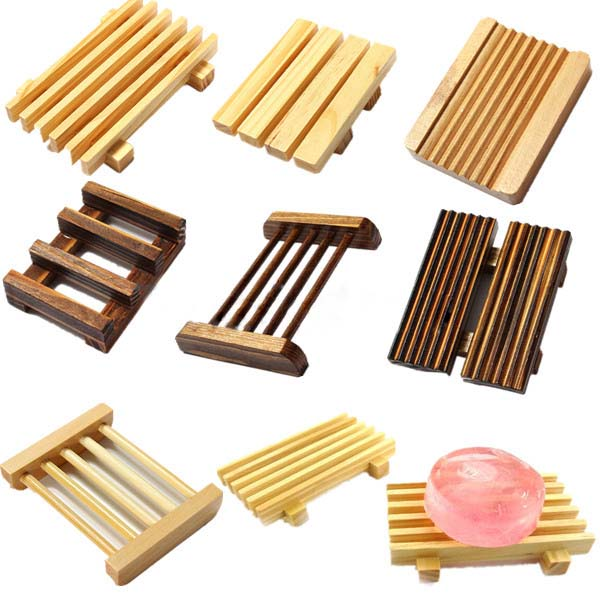 Various Natural Wooden Soap Box Holder Bathroom Items