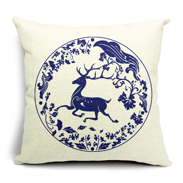 Chinoiserie Pillow Case Blue And White Porcelain Pillowcase