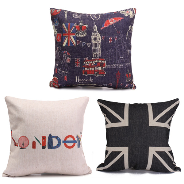 British Flag Printed Cotten Linen Throw Pillow Case Square Cushion Cover Home Sofa Decor