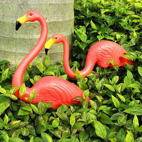 2pcs Garden Decoration Artificial Red Flamingos Courtyard Landscape Ornament