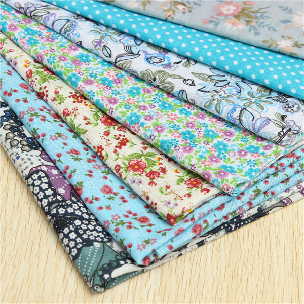 50x50cm Blue Series 7 Assorted Cotton Quilt Fabric Floral Printed Fabrics Set