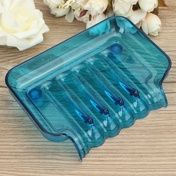 Bathroom Waterfall Soap Dish Clear Color Sponge Holder Storage Tray With Two Sucker