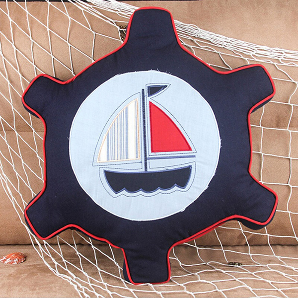 Boat Rudder Shape Throw Pillow Nautical Compass Cushion Home Sofa Office Decor