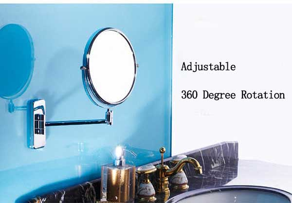Stainless Steel Foldable Fexible Bathroom Wall Mirror Double Side Rotated Cosmetic Mirror