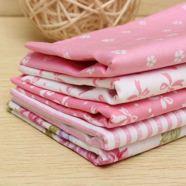 5 Assorted Pre Cut Pink Cotton Fabric Sewing Patchwork Diy Cloth