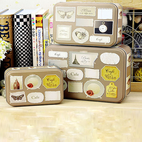 3pcs Set Rectangle Retro Tea Boxes Gift Jewelry Candy Store Box