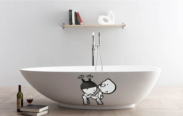 Funny Boy & Girl Bathroom Wall Sticker Toliet Glass Door Decoration