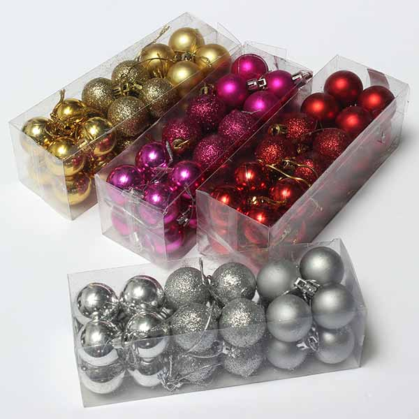 24pcs Xmas Tree Decoration Christmas Glitter Balls Ornament