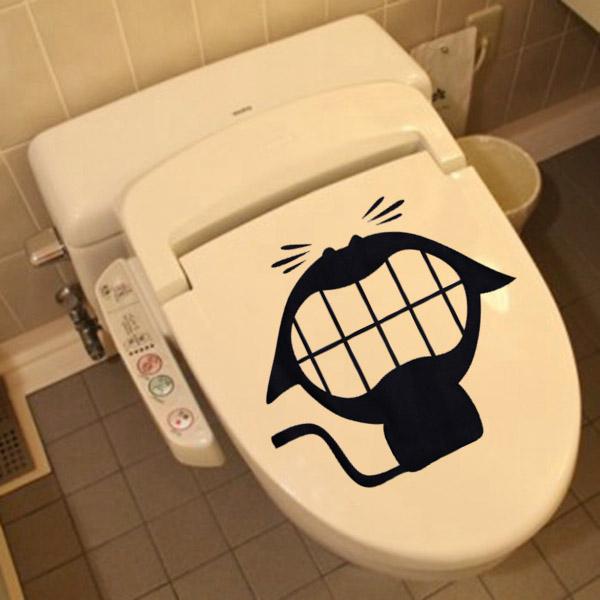 Removable Crazy Cat Pattern Toilet Sticker Bathroom Decoration