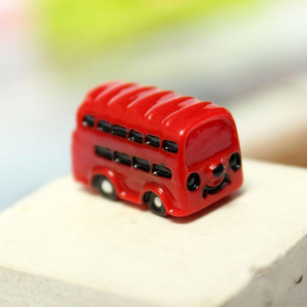 Micro Landscape Decoration Mini Red Bus Garden Flower Pot Decor
