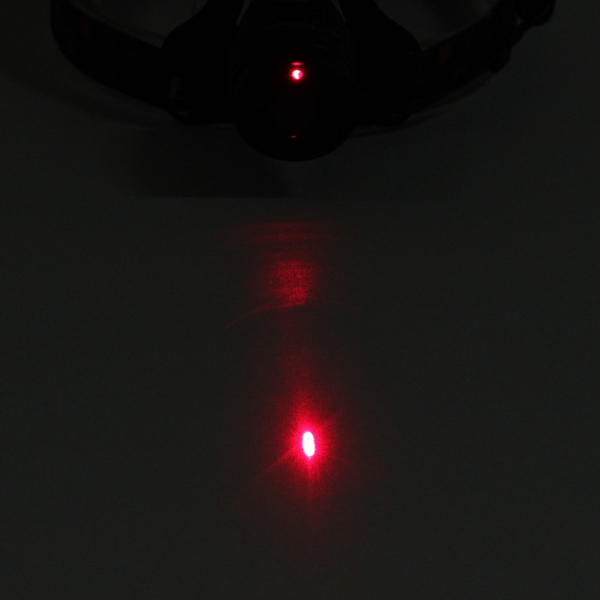 4 Mode LED Zoomable Headlight Headlamp White And Red Laser Light Use 2x 18650 batteries
