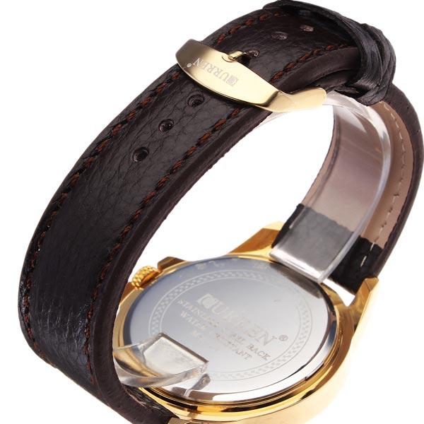CURREN 8124 Black Gold Date Sport Leather Round Men Wrist Watch