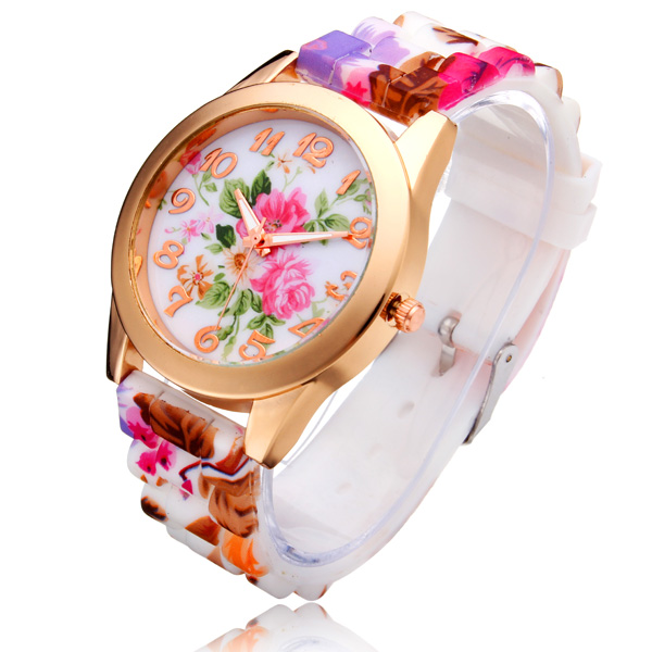 Silicone Flower Butterfly Round Gold Women Quartz Wrist Watch