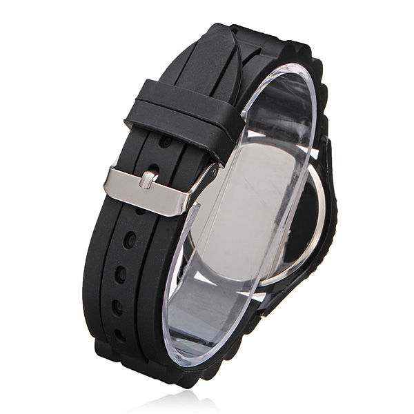 Silicone Number Crystal Women Round Quartz Wrist Watch